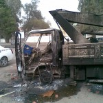 Truck burned out after riots